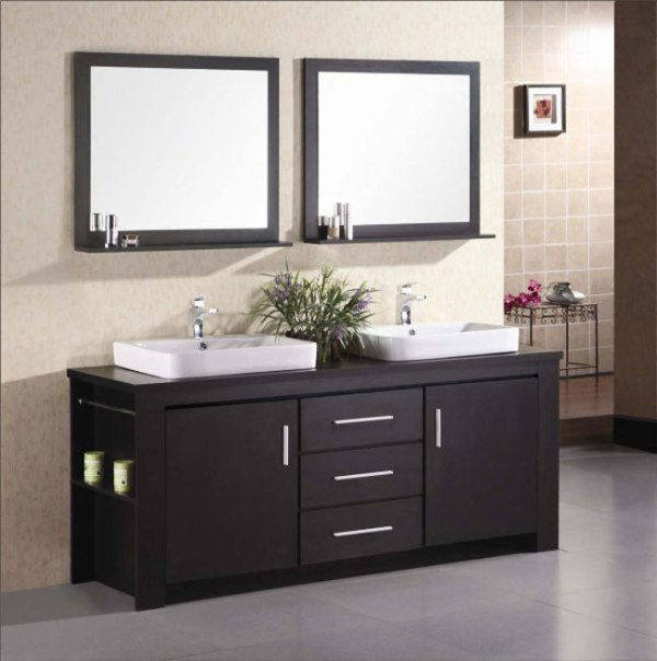 Design element dec083d washington 72 inch double sink for Bathroom 72 inch vanity