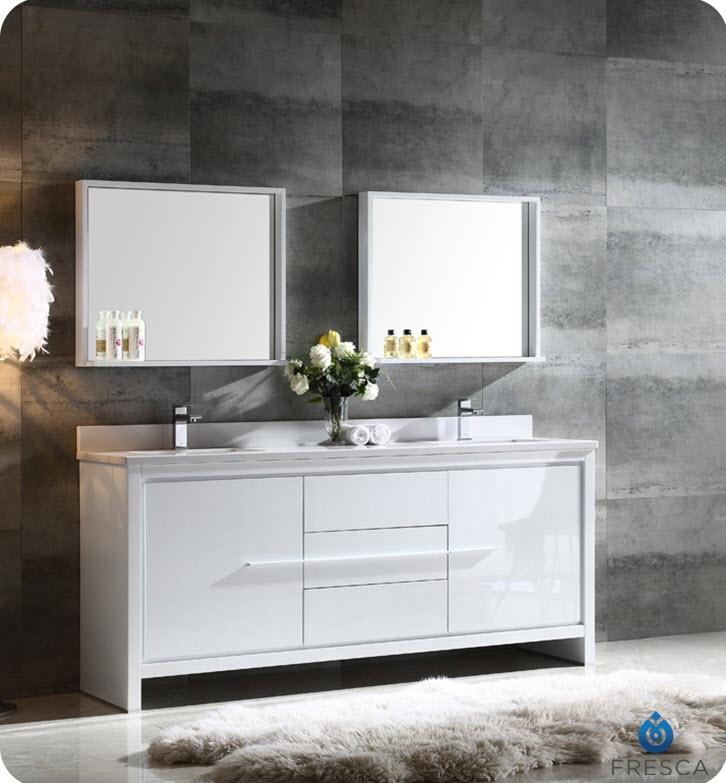 allier 72 inch white modern double sink bathroom vanity w mirror