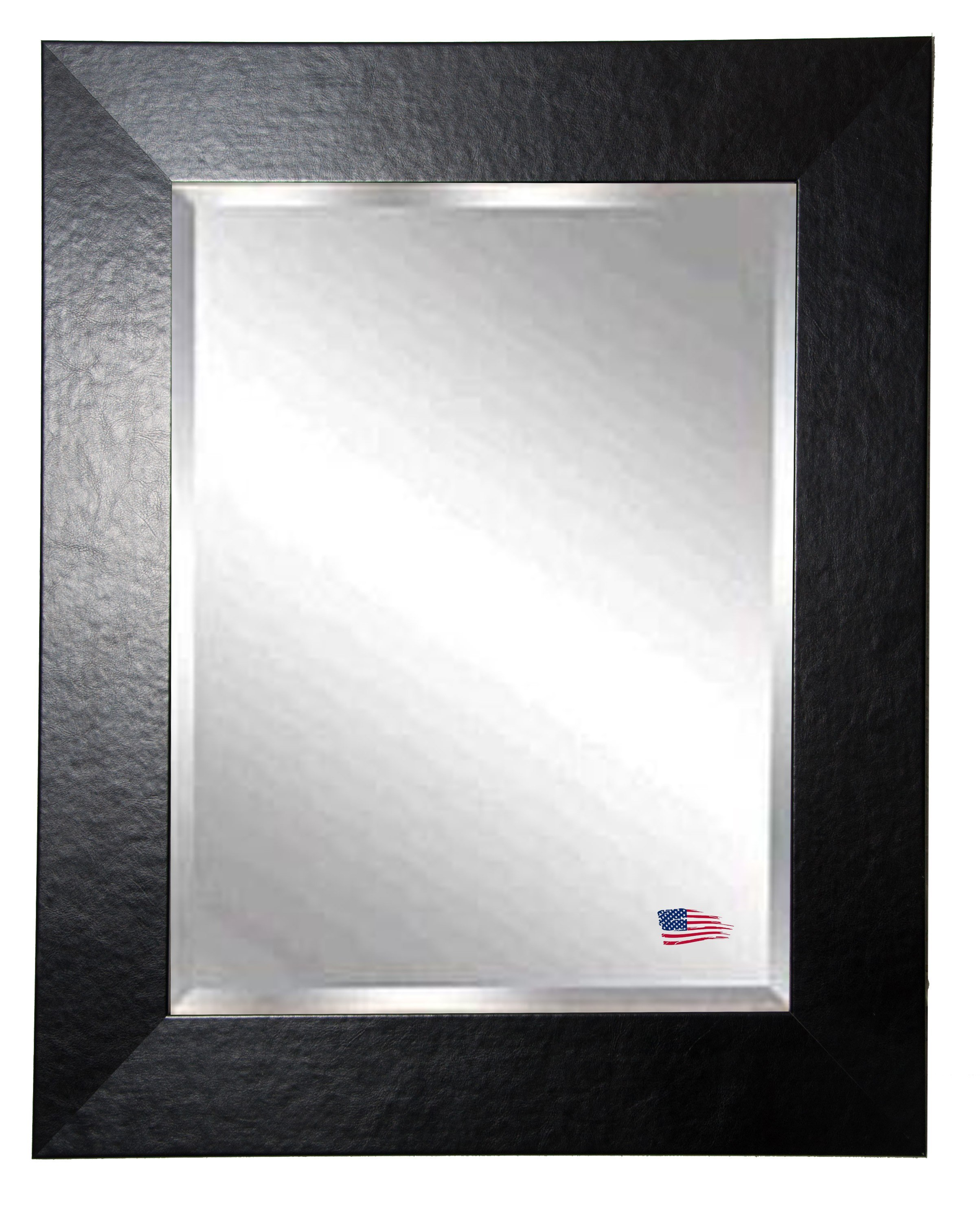 rayne mirrors r037lv 42 x 36 inch black wide leather wall