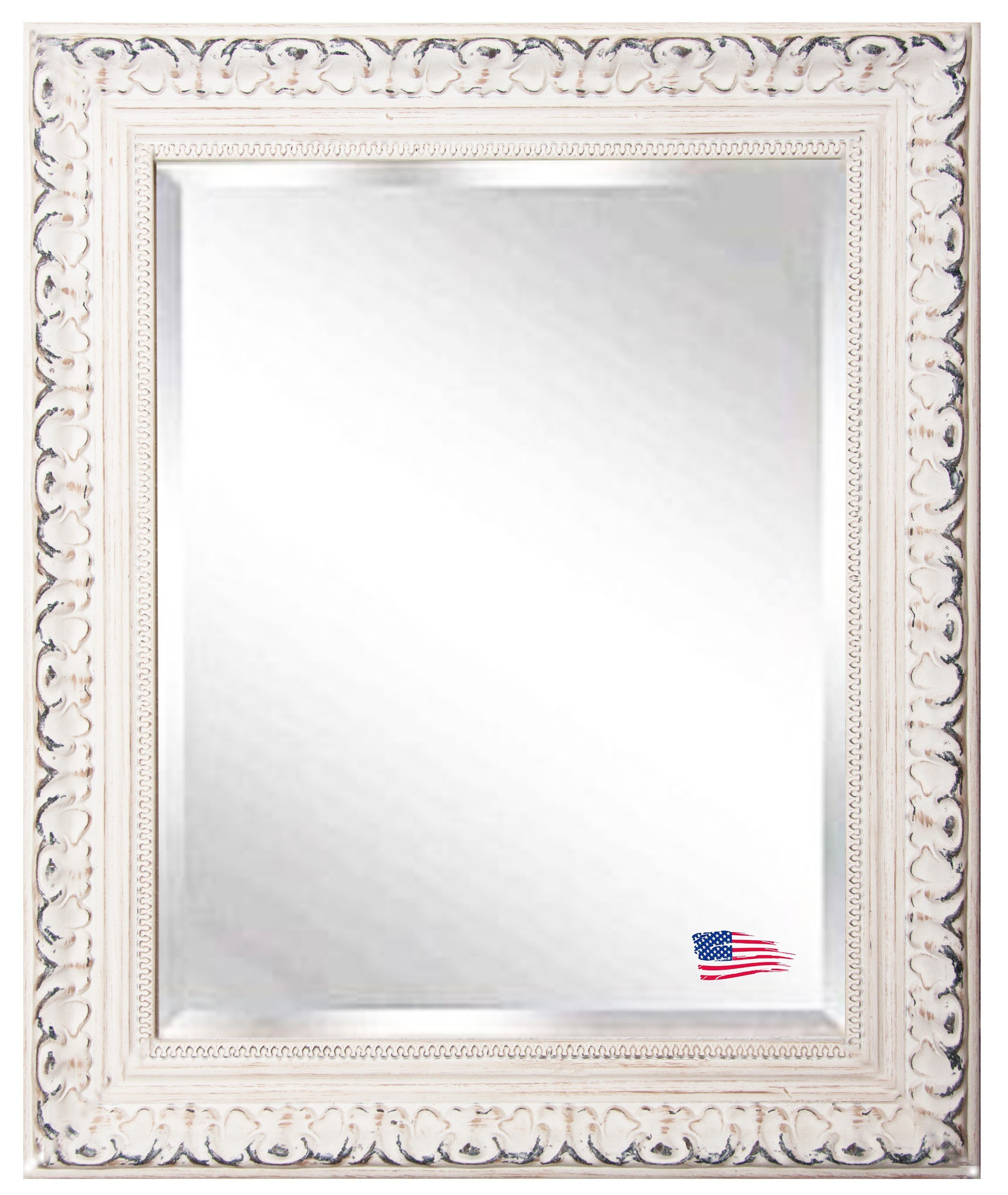Rayne Mirrors R039ML2 33.5 x 37.5 Inch Distressed French Victorian White Wall Mirror