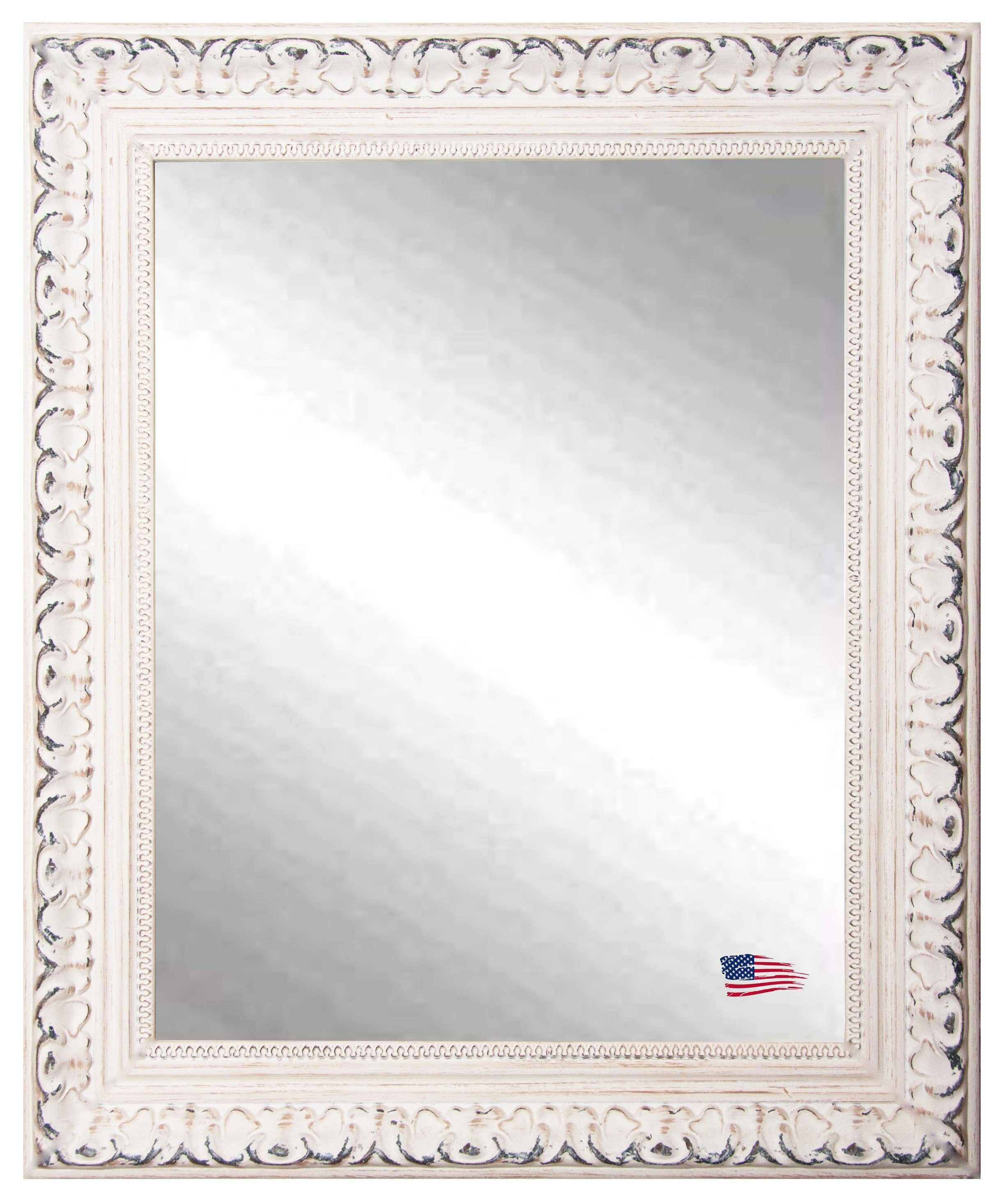 Rayne Mirrors V039M 29.5 x 35.5 Inch French Victorian White Wall Mirror