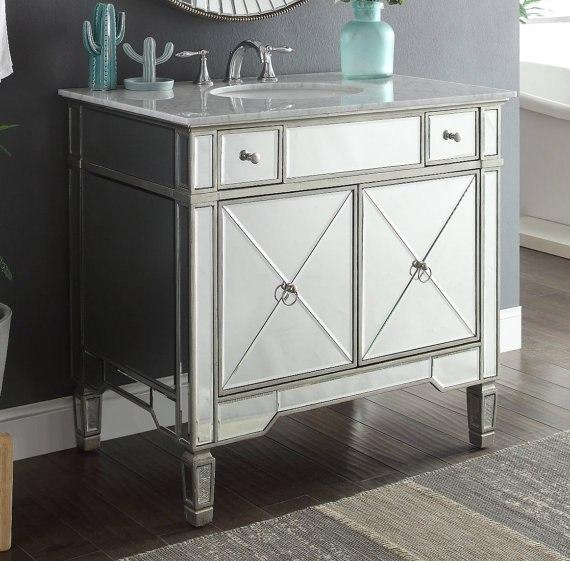 Chans Furniture YR 023RA 36 Ashlyn 36 Inch Silver Mirrored