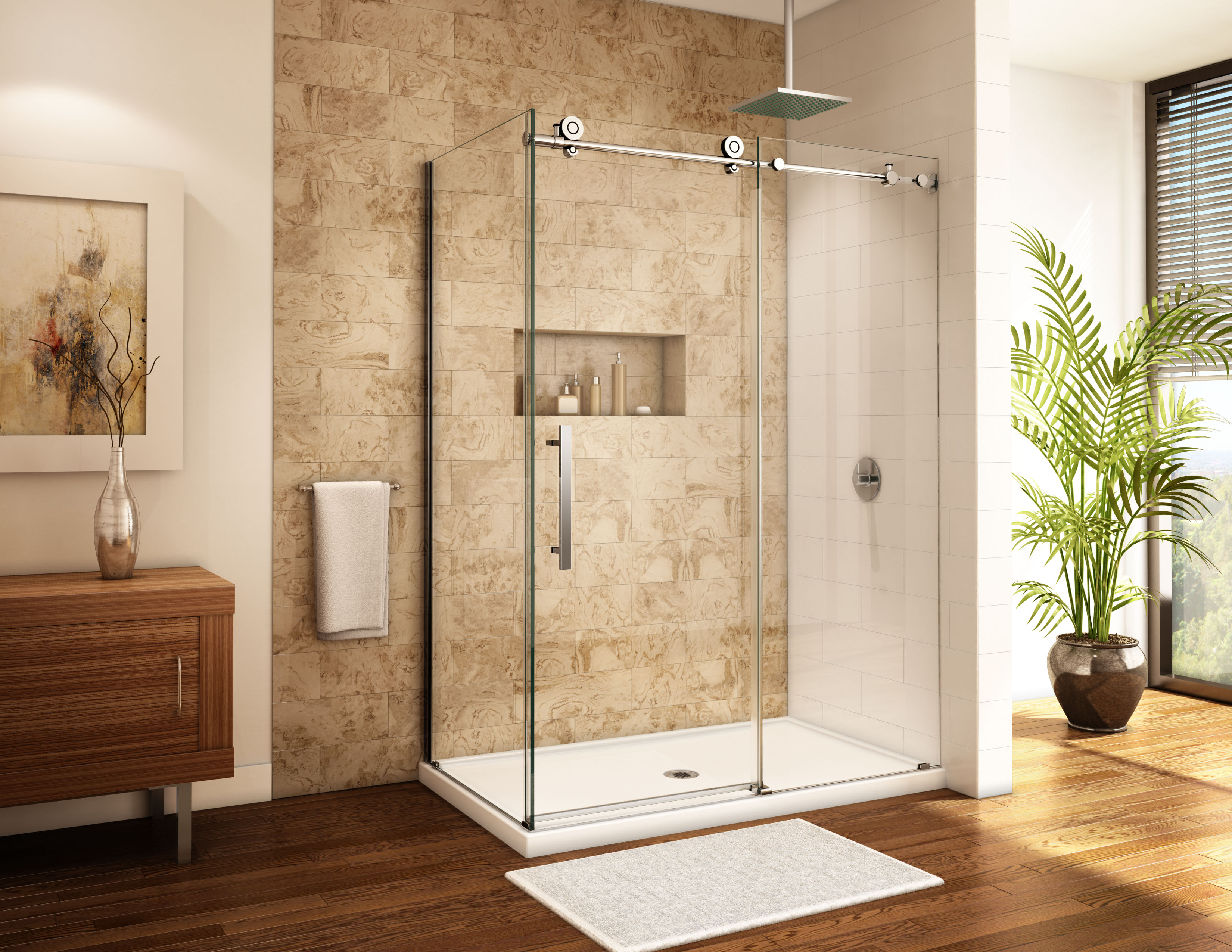 Fleurco ABF3672 Quad 36 x 72 Inch In-Line Acrylic Shower Base with ...