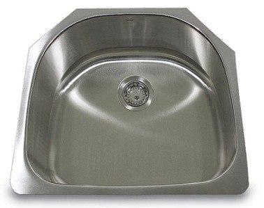 Nantucket Sinks NS03i 23 Inch Quidnet D-Bowl Undermount Stainless Steel Kitchen Sink- 18 Gauge