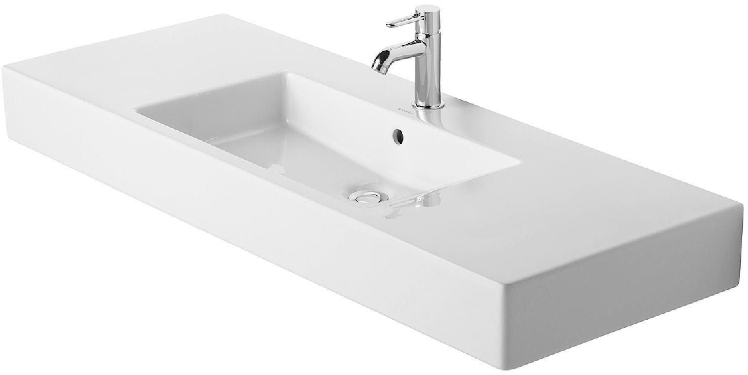 duravit 032912 vero 49 1 4 x 19 1 4 inch furniture washbasin with wonderglliss 03291200001. Black Bedroom Furniture Sets. Home Design Ideas