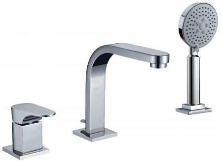 single lever bathroom faucet with round hand held pull out shower head