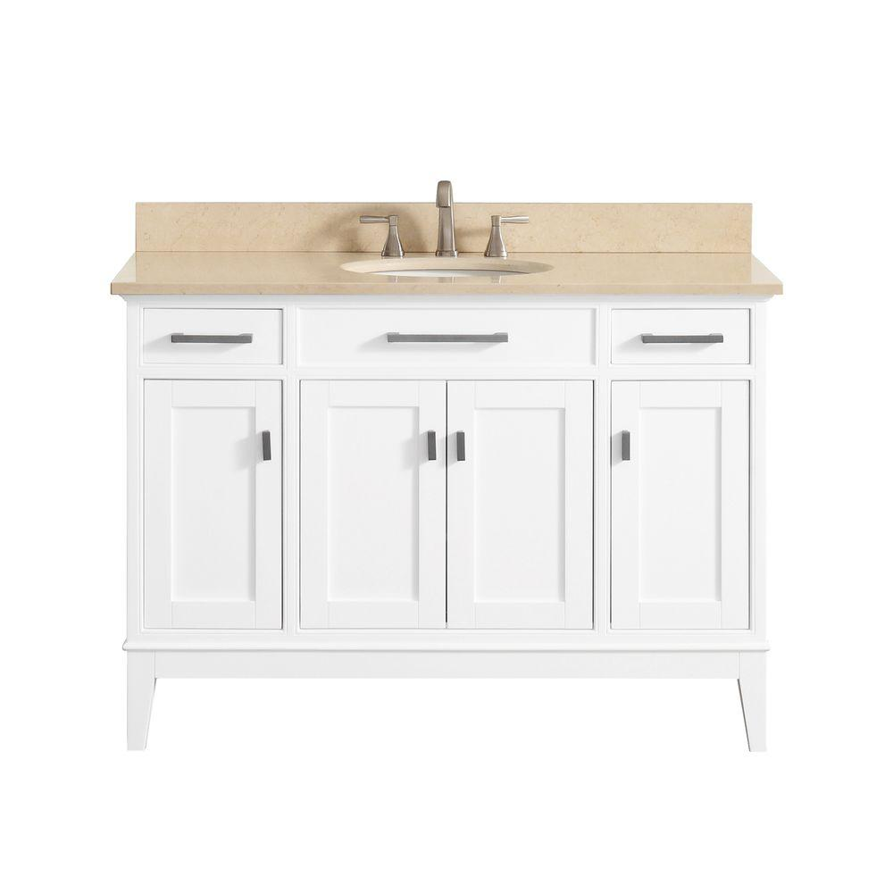 avanity madison vs48 wt b madison 49 inch vanity in white with galala beige marble top madison. Black Bedroom Furniture Sets. Home Design Ideas