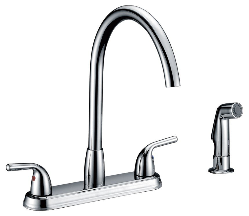 Kitchen Faucet Usa: Dowell USA 8002 004 Double Handle Kitchen Faucet With Side