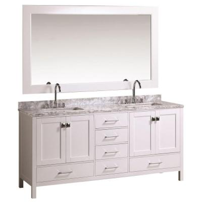 Design Element DEC082B-W London 72 Inch Double Sink Vanity Set in White Finish