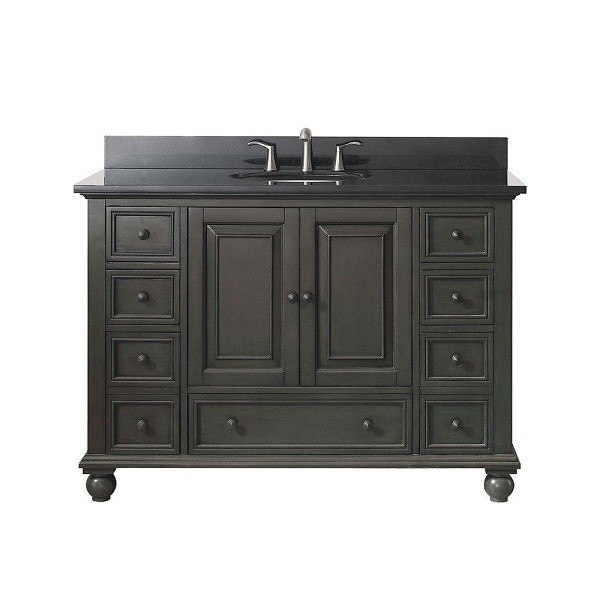 avanity thompson vs48 cl a thompson 49 inch vanity in charcoal glaze with black granite top. Black Bedroom Furniture Sets. Home Design Ideas