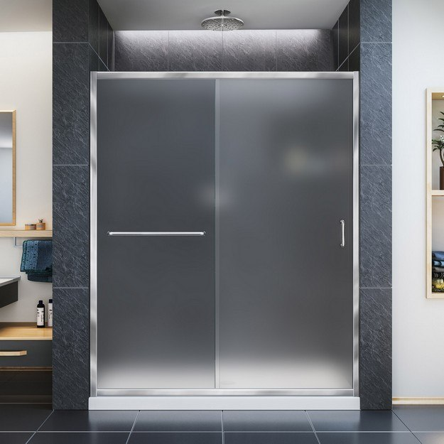 DreamLine SHDR-0960720-FR Infinity-Z 56-60 Inch Shower Door - Frosted Glass