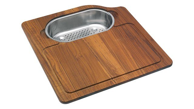 Franke OC-45SP Orca Solid Wood Cutting Board with Polished Stainless Steel Colander