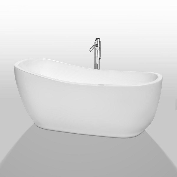 Wyndham Collection WCBTO85666ATP11PC Margaret 66 Inch Freestanding Bathtub in White with Floor Mounted Faucet, Drain and Overflow