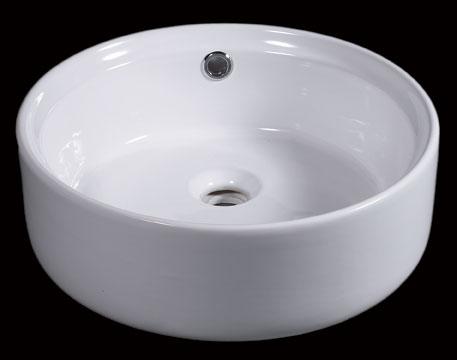 EAGO BA129 Above Mount 16 Inch White Round Porcelain Bathroom Sink w/ Overflow