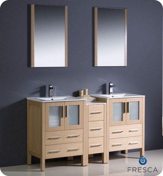 Fresca fvn62 241224lo uns torino 60 inch light oak modern for 60 bathroom vanity light