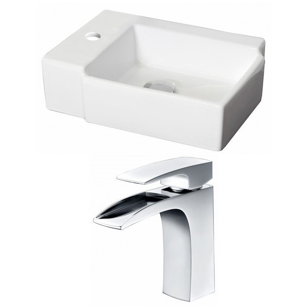 American Imaginations AI-15205 16.25 x 11.75 Inch Rectangle Vessel Set In White Color With Single Hole CUPC Faucet