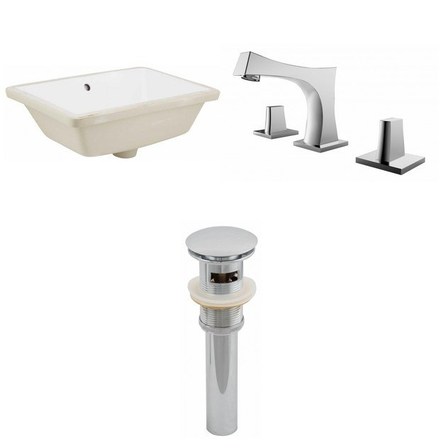 American Imaginations AI-12957 18.25 x 13.5 Inch Rectangle Undermount Sink Set In White, Faucet And Drain