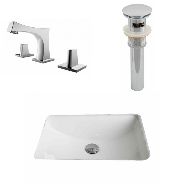 American Imaginations AI-13256 20.75 x 14.35 Inch Rectangle Undermount Sink Set In White, Faucet And Drain