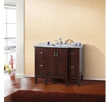 home 7614 sw 44 inch single sink vanity wood sable walnut cabinet only
