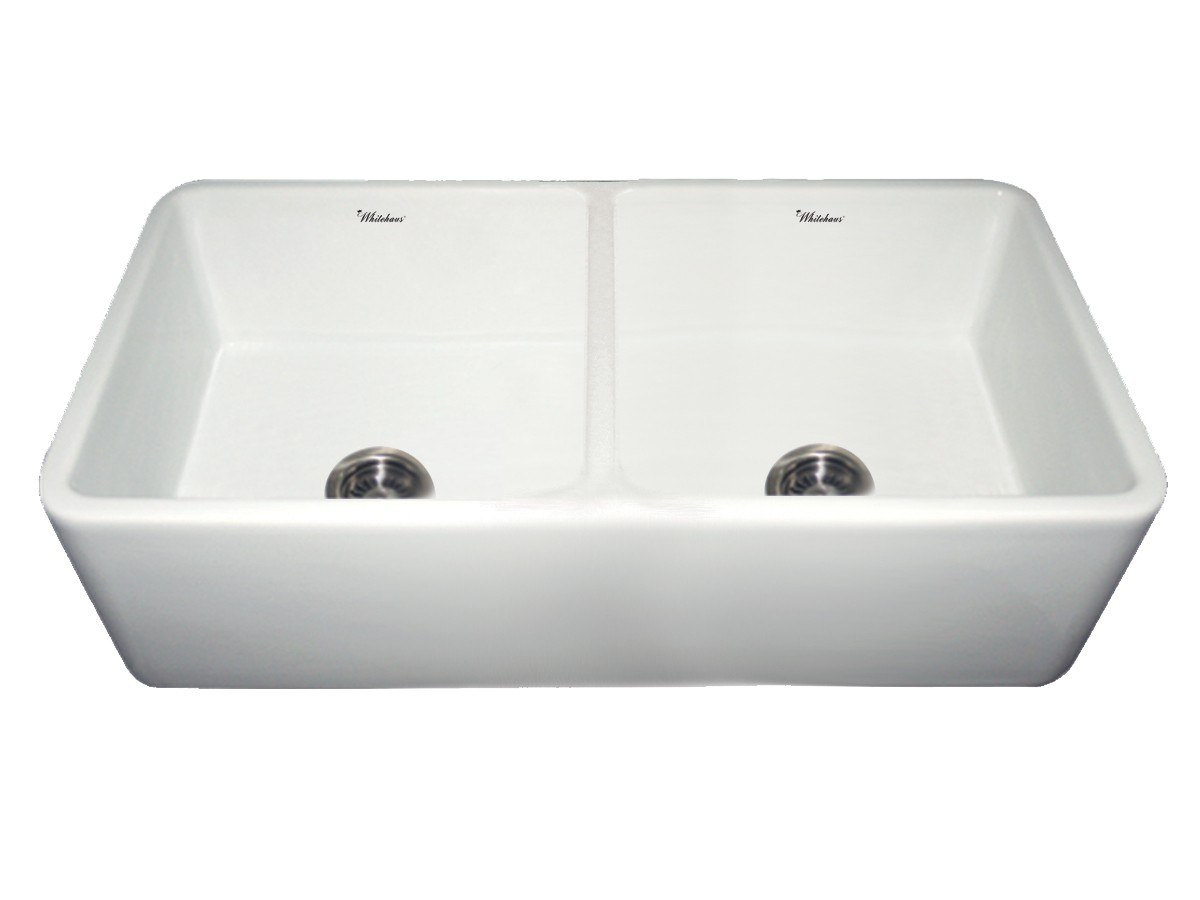 Double Bowl Apron Front Sink : ... Inch Duet Reversible Double Bowl Fireclay Sink w/ Smooth Front Apron
