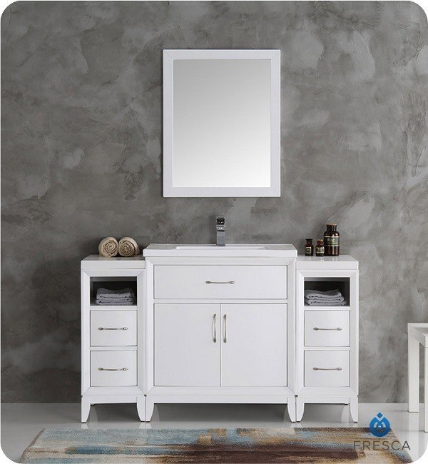 fresca fvn21 123012wh cambridge 54 inch white traditional bathroom vanity with mirror fvn21. Black Bedroom Furniture Sets. Home Design Ideas