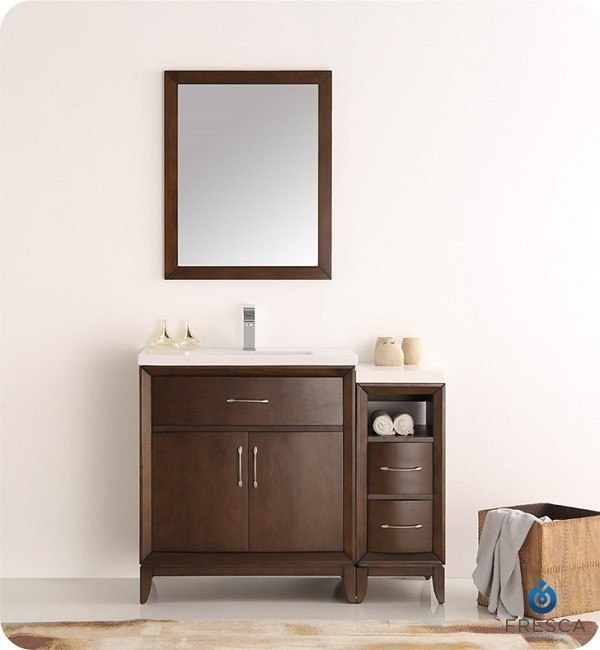 Fresca fvn21 3012ac cambridge 42 inch antique coffee traditional bathroom vanity with mirror for 42 inch vanities for bathrooms