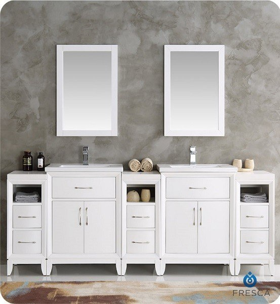 Fresca Fvn21 84wh Cambridge 84 Inch White Double Sink Traditional Bathroom Vanity With Mirrors