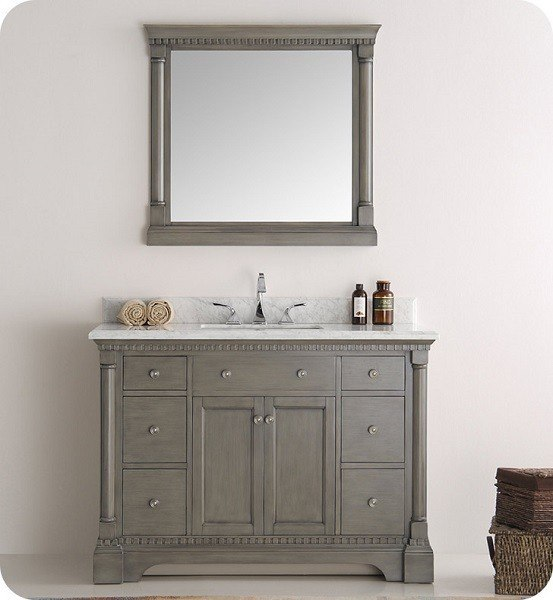 fresca fvn2248sa kingston 48 inch antique silver traditional bathroom vanity with mirror fresca. Black Bedroom Furniture Sets. Home Design Ideas