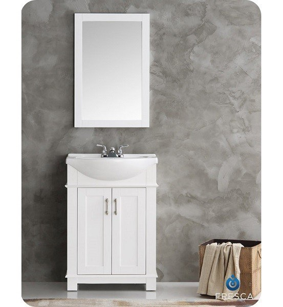 Fresca Fvn2302wh Cmb Hartford 24 Inch White Traditional Bathroom Vanity Fvn2302wh Cmb