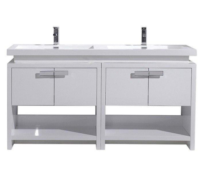 Moreno Bath L1600gw Mol 63 Inch High Gloss White Free Standing Modern Bathroom Vanity With Cubby