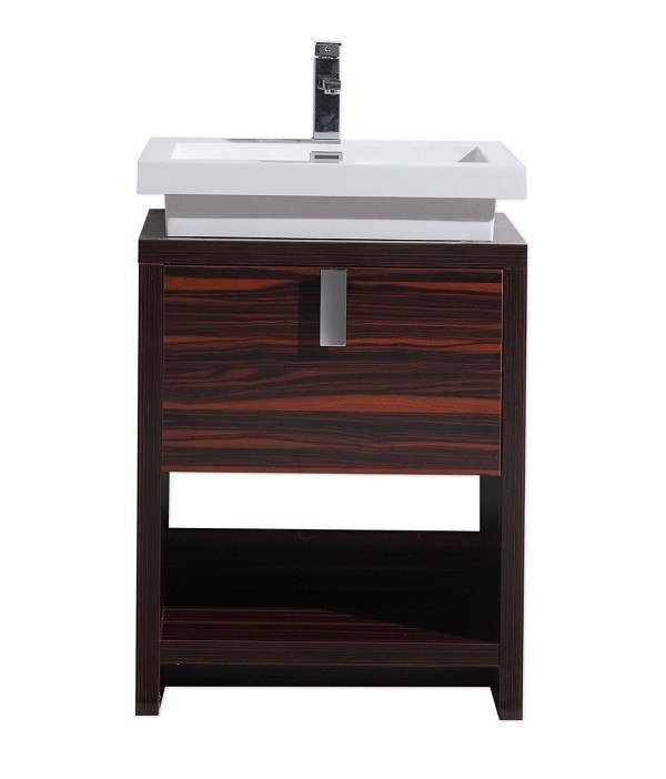 Moreno bath l600rs mol 24 inch high gloss rose walnut free standing modern bathroom vanity with for Freestanding 24 inch bathroom vanity
