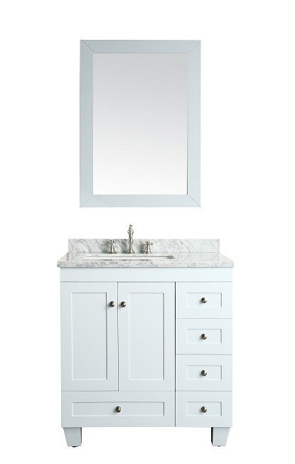 Eviva Evvn69 30wh Acclaim C 30 Inch Transitional White Bathroom Vanity With White Carrera