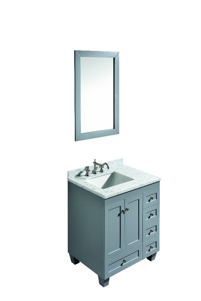 Eviva Evvn69 30gr Acclaim C 30 Inch Transitional Grey Bathroom Vanity With White Carrera Marble