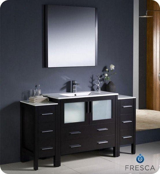 Fresca Fvn62 123612es Uns Torino Inch Espresso Modern Bathroom Vanity W 2 Side Cabinets