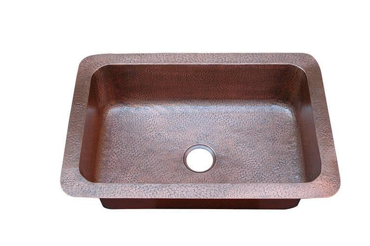 Yosemite Home Décor CSS1653-H 33 Inch Under-Mount/Top-Mount Hammered Single Bowl Sink