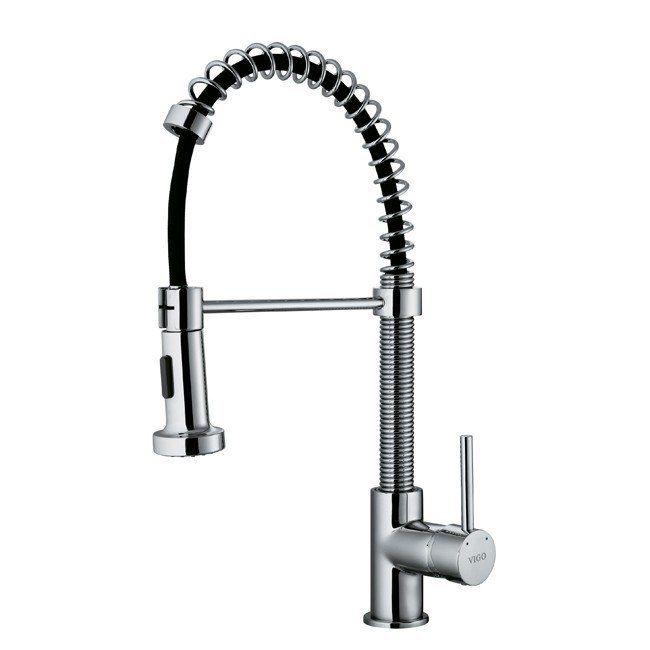 Vigo VG02001 Semi Pro Pull Out Kitchen Faucet With Deck Plate