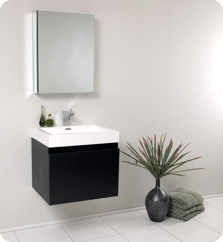 Fresca FVN8006BW Nano 23.38 Inch Black Modern Bathroom Vanity w/ Medicine  Cabinet - KBAuthority.com - Your Kitchen And Bath Authority. Best Price On