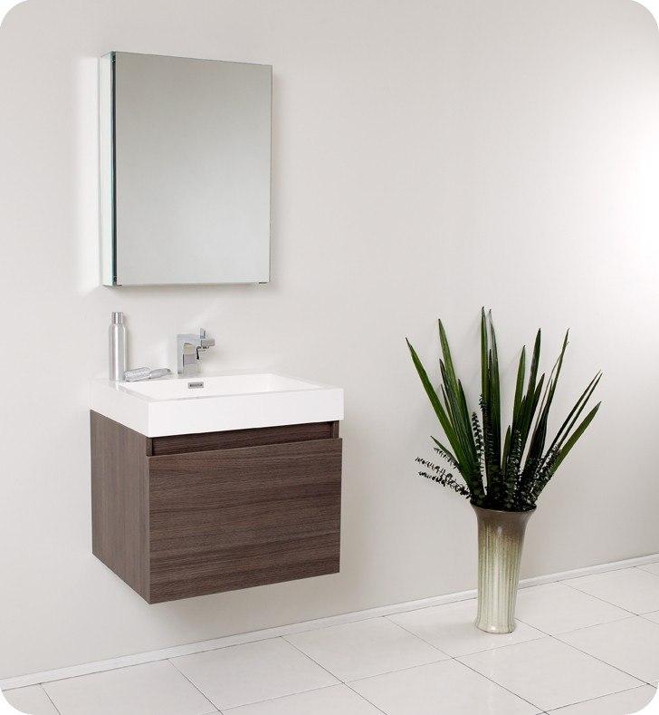 Fresca FVN8006GO Nano 23.38 Inch Gray Oak Modern Bathroom Vanity w/ Medicine Cabinet