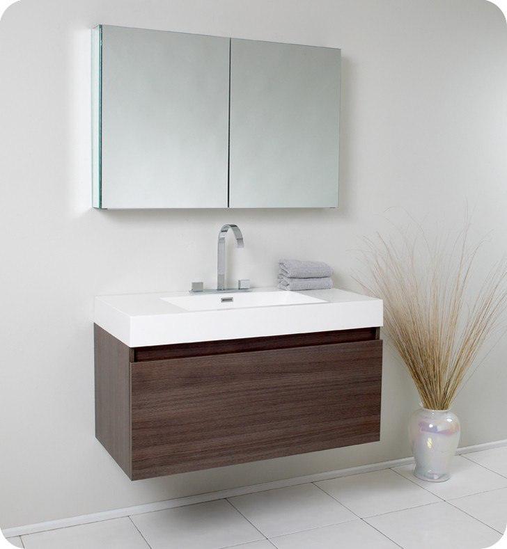 Fresca fvn8010go mezzo 39 inch gray oak modern bathroom Contemporary bathroom vanity cabinets