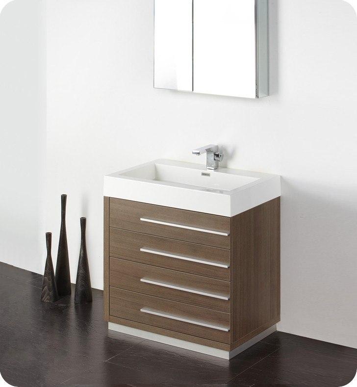 Fresca Fvn8030go Livello 29 38 Inch Gray Oak Modern Bathroom Vanity W Medicine Cabinet