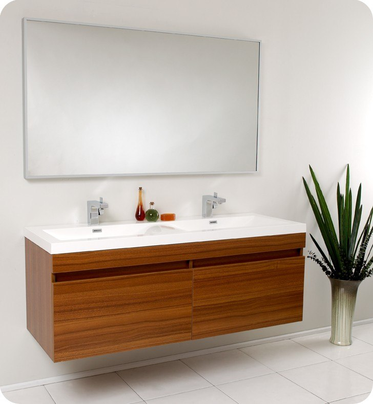 Fresca FVN8040TK Largo 56 63 Inch Teak Modern Bathroom Vanity w  Wavy  Double Sinks. KBAuthority com   Your Kitchen and Bath Authority  Best Price on