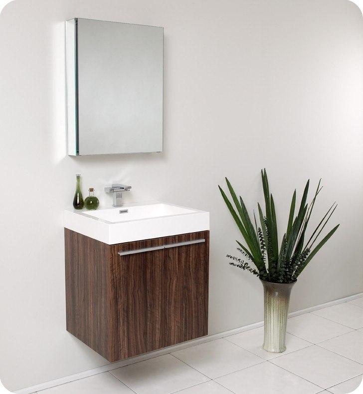 Fresca Fvn8058gw Alto 22 5 Inch Walnut Modern Bathroom Vanity W Medicine Cabinet Fresca Vanity
