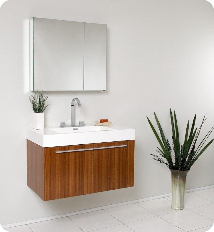 Fresca FST8092TK Teak Bathroom Linen Side Cabinet w/ 2 ...