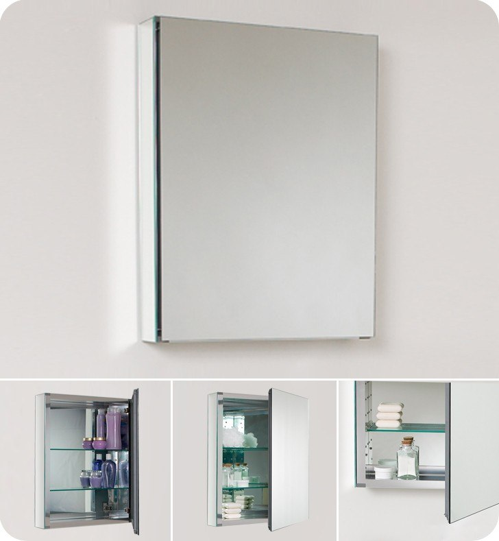 Fresca FMC8058 Small 19.5 Inch Wide Bathroom Medicine Cabinet w/ Mirrors