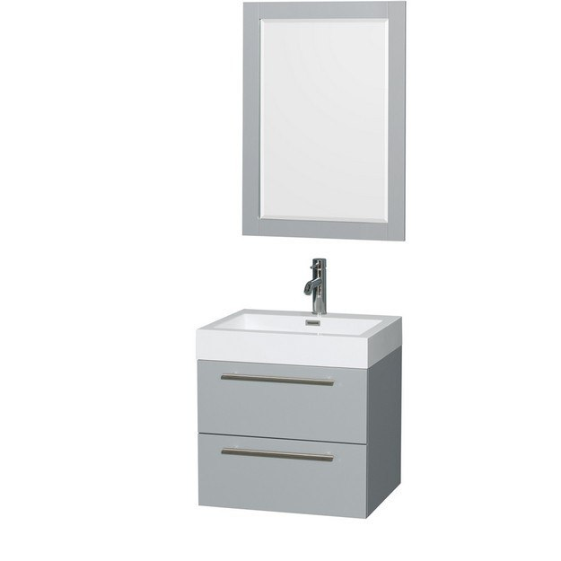 Wyndham Collection WCR410024SDGARINTM24 Amare 24 Inch Single Bathroom Vanity in Dove Gray, Acrylic Resin Countertop, Integrated Sink, and 24 Inch Mirror