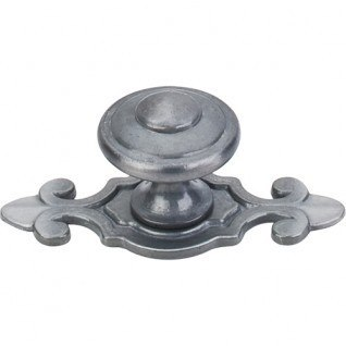 Top Knobs M30 PTL Britannia Canterbury Knob 1-1/4 Inch with Backplate Pewter Light