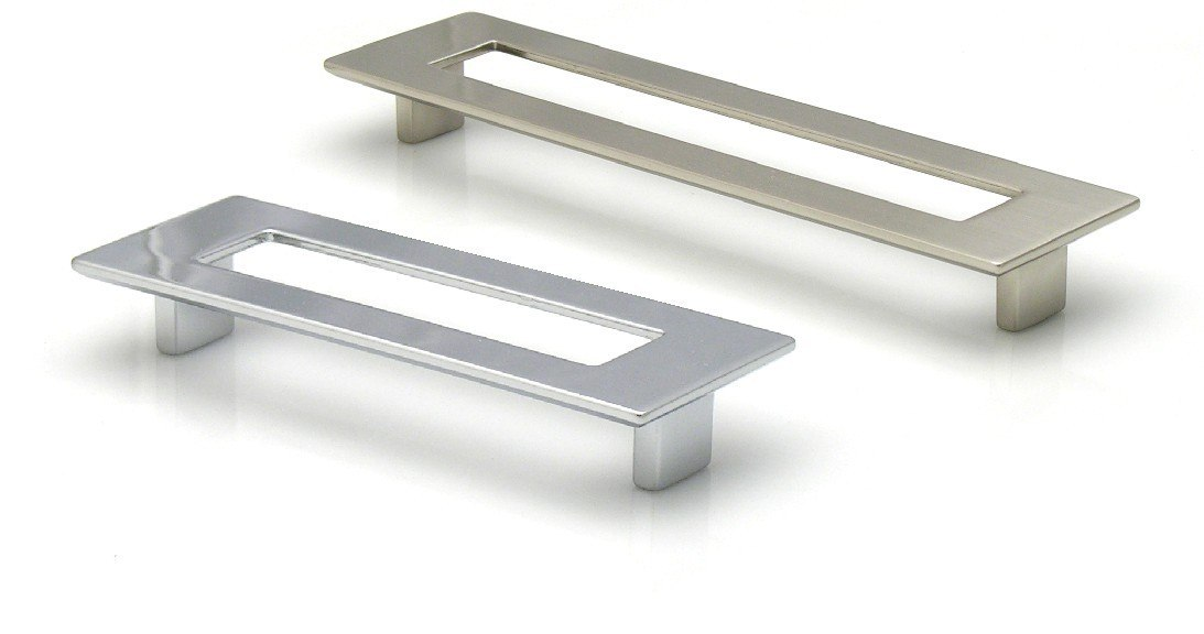 Topex 8-1070019234 Large Rectangular Pull With Hole 7 1/2 Inches (192mm) Polished Satin Nickel
