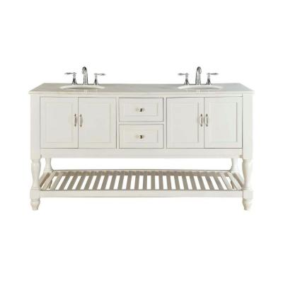 Direct Vanity Sink 6070d10 Ww Mission Turnleg 70 Inch White Double Vanity With White Marble