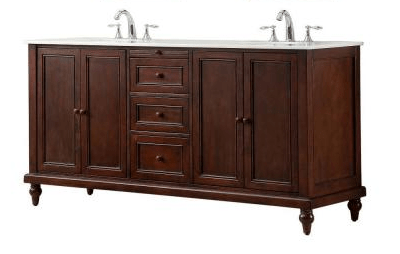 Direct vanity sink 6070d9 est classic 70 inch double vanity in dark brown with white marble for 70 inch double bathroom vanity