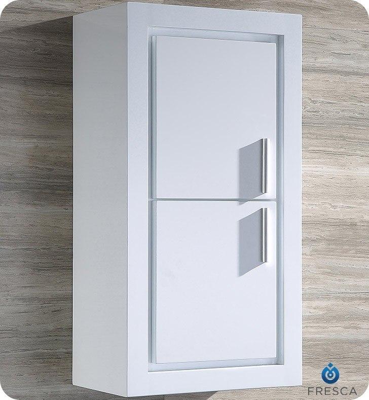 fresca fst8140wh allier white bathroom linen side cabinet w 2 doors